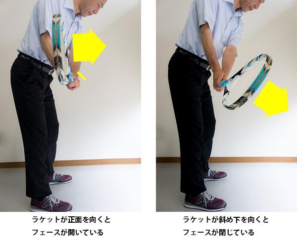 テークバックのフェース面をテニスラケットでチェックする画像