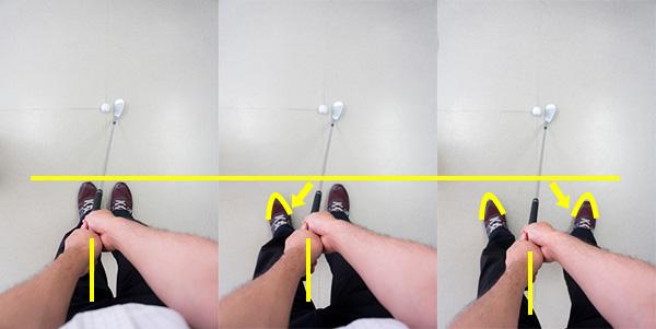 ウェッジの足の移動手順の画像