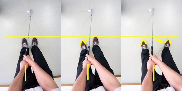5番アイアンの足の移動手順の画像