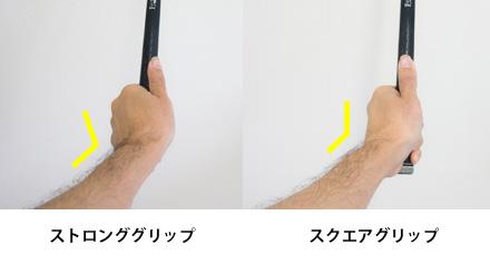 グリップの手の甲側に折れる角度の画像