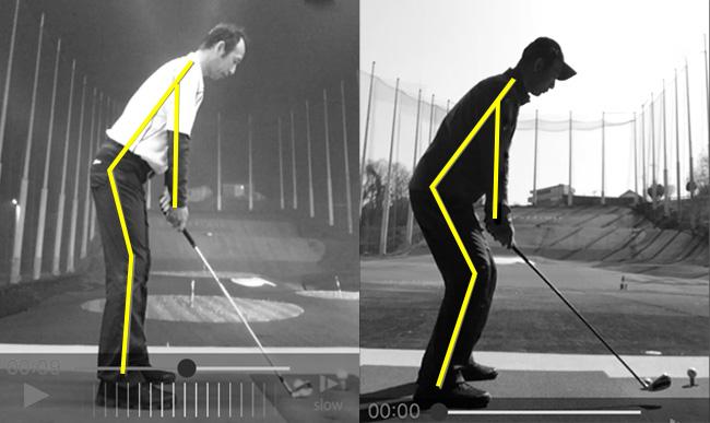 ライ角による前傾角度を比べている画像