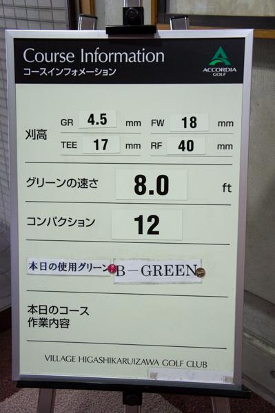 ヴィレッジ東軽井沢ゴルフクラブのグリーンの速さの画像