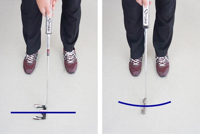 パットの前傾角度の違いによるストロークの比較の画像