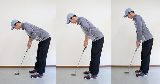 パットの前傾姿勢の比較の画像