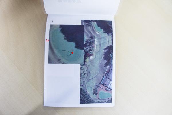 ピンの位置を写した自作ヤーデージブックの画像