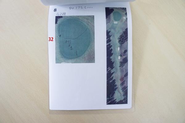 グリーンの長さを記入した自作ヤーデージブックの画像