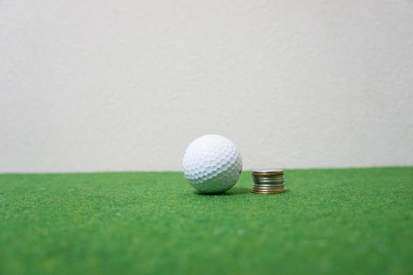 ゴルフボールとコイン10枚の画像