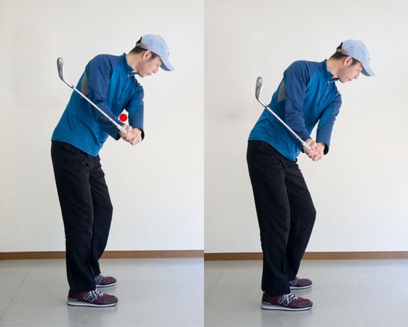 ゴルフスイングで左脇のしまりの比較の画像