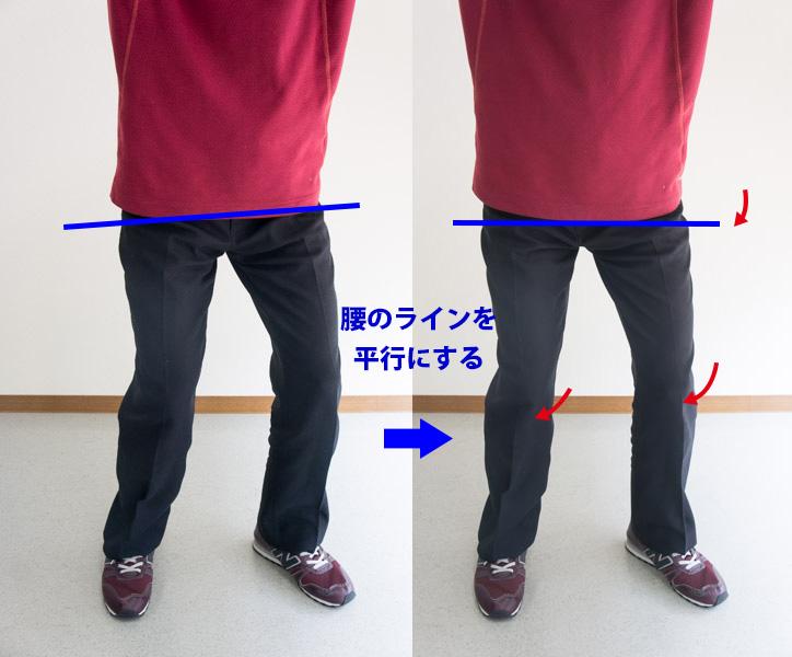 足は左を向いたまま腰のラインを平行にする画像