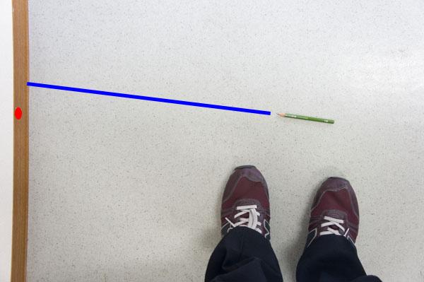 鉛筆がラインからずれている画像